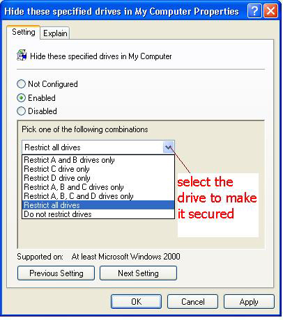 select drive to make it secure