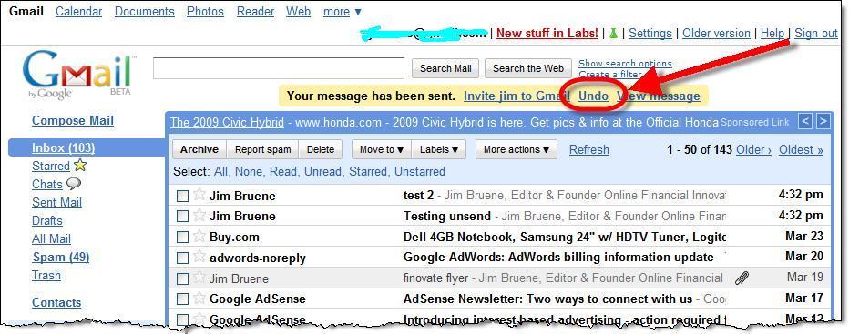 gmail undo sent mails
